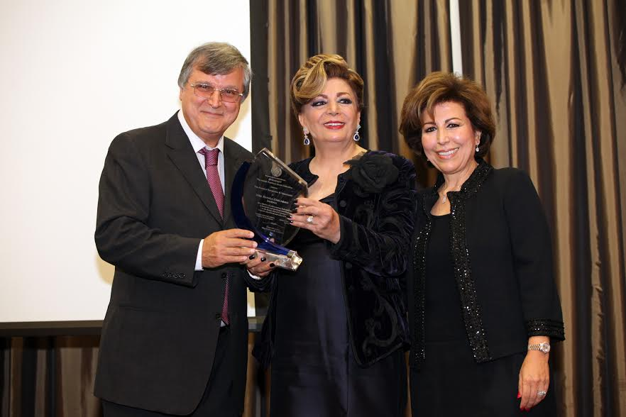 Mike Nazarian IAJF Chairman of the Board Mrs. Shahla Zargarian Javdan with her award. Mrs. Susan Azizzadeh President