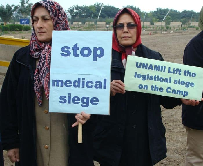 Women in Camp Liberty protest the medical siege that UNAMI does nothing about.