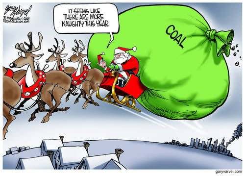 Santa Prepares To Make His Deliveries, But There Seems To Be Plenty Of Coal To Go Around This Year