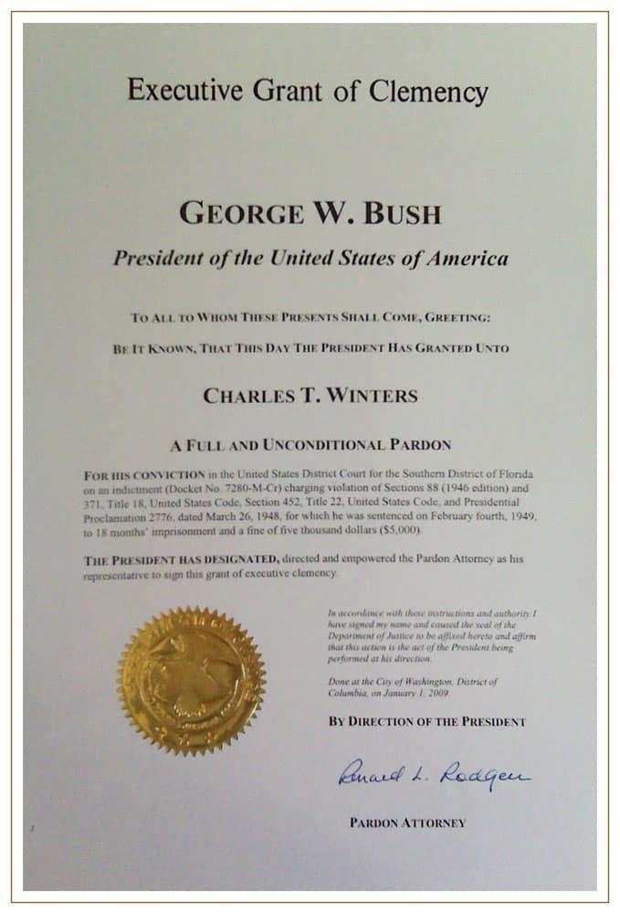 Charles Winters Presidential Clemency Pardon