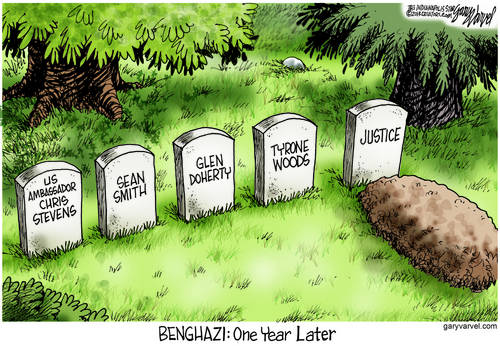 One Year After The Benghazi Debacle, One More Casualty cartoon