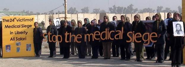 Camp Liberty residents protest the medical siege