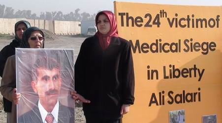 A Camp Liberty resident marks the death of the 24th resident due to the medical siege