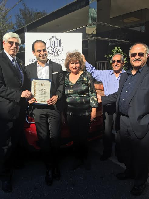 L Beverly Hills Mayor Dr. Julian A. Gold MD Dr. Ben Talei Mother Fay Talei father Moiz Talei [far right]