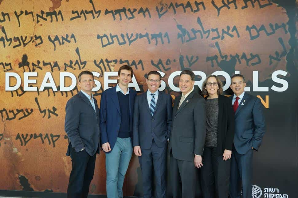 L George Duffield Taran Davies Israel consul general David Siegel Jeff Rudolph Pnina shor Curater Head Dead Sea scrolls project William Harris Senior VP development and marketing Photo Orly Halevy
