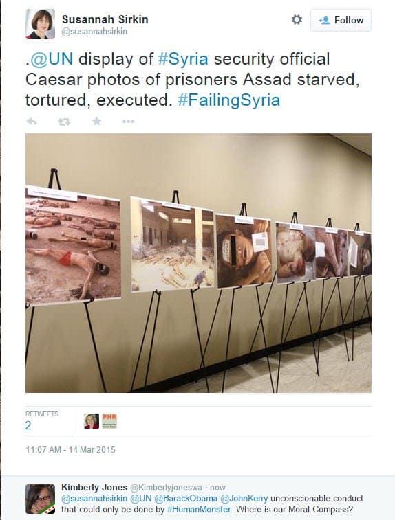 Syria UN Tweet re Caesar Display