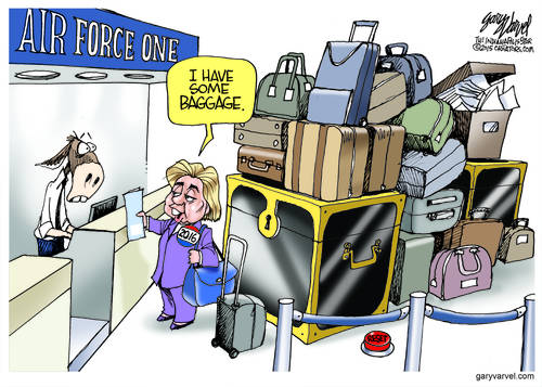 Hillary Lines Up For The Air Force One Joyride With More Baggage Than Romney, Bush, Cruz, Biden and Christie Combined