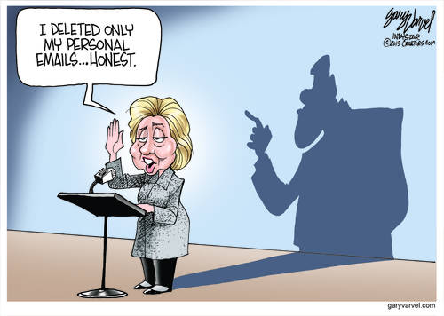 An Eerie Shadow Stands Behind Hillary As She Swears She Is Innocent