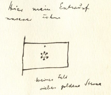 Herzls proposed flag as sketched in his diaries. Although he drew a Star of David he did not describe it as such.