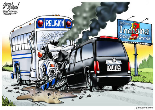 The Religion Bus And The Politics SUV Crash Head-on At Indiana Crossroad