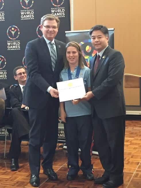 L Patrick McClenahan President CEO 2015 Special Olympics World Games Lucy Meyer Global Messenger Congressman Ted Lieu[Ss]