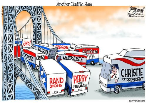 Chris Christie Gets Stuck Behind The Traffic Jam Ahead On The Presidential Bridge