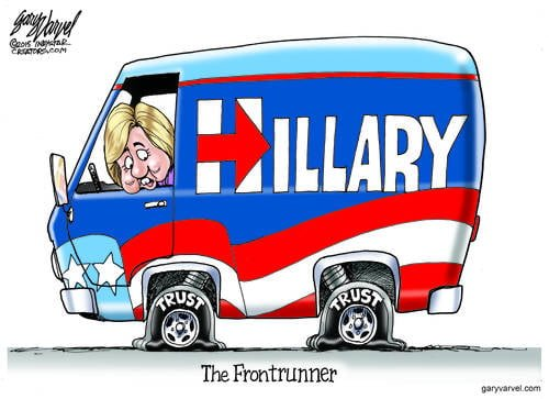 Democrat Frontrunner, Hillary Clinton, Has A Problem With Trust On Her Tour