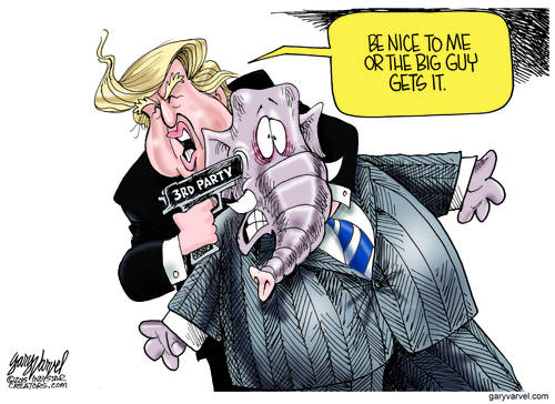 Donald Trump Plays Tough Guy With The Bloated Do Nothing GOP cartoon