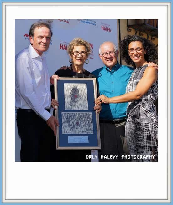 L to R Amos Shapira Haifa U President, Soraya Nazarian, Sharon Nazarian, heads the Nazarian Foundation Haifa U alumni, Prof. Fred Tauber, Chair Haifa U Board of Governors Photo Orly Halevy