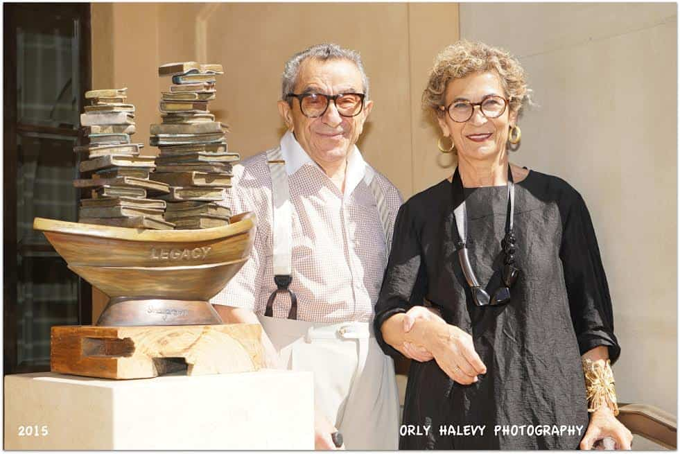 Soraya and Younes Nazarian next to Sorayas sculpture one of many on display in the Nazarians Tuscany garden Photo Orly Halevy