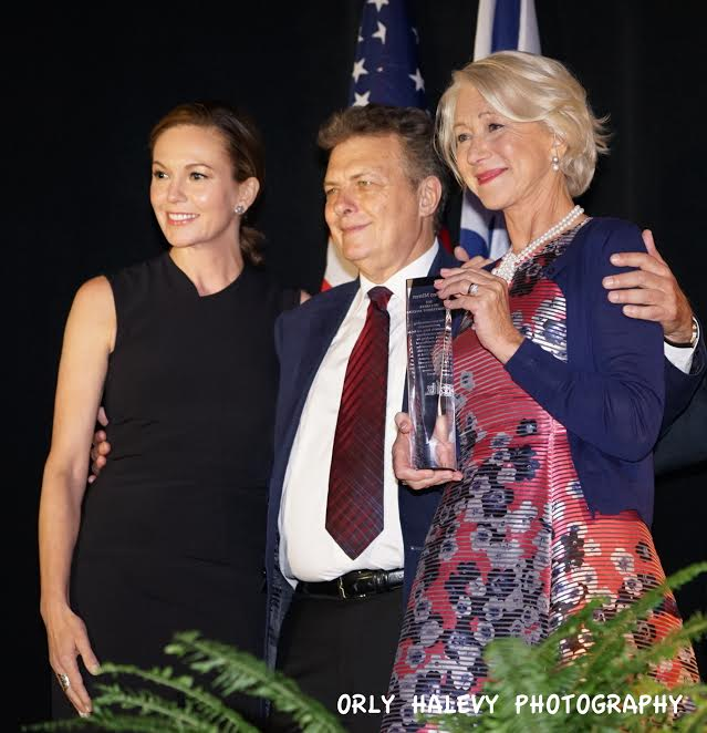 R Helen Mirren Recipient of 2015 IFF Career Achievemet Award Meir Fenigstein IFF Founder Executive Director Diane Lane who presented the award