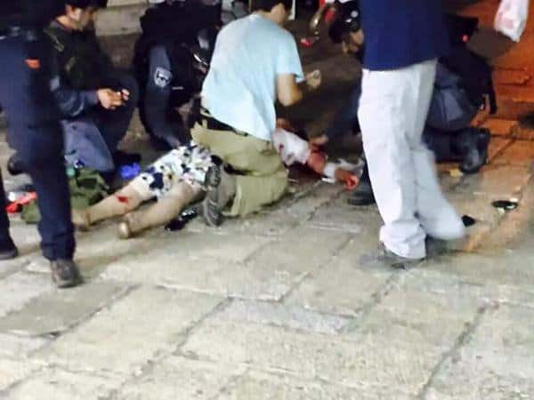 scene of the stabbing attack in Jerusalem on October 3 2015 where 4 Israelis were stabbed by Arab terrorist 2 died from their wounds