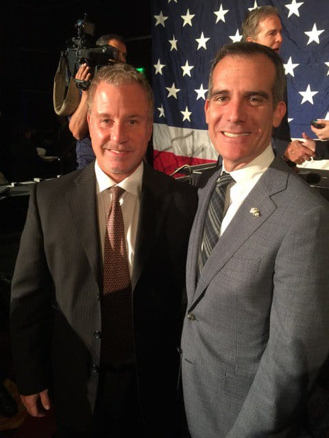 Mayor Eric Garcetti and Jim Moseley.