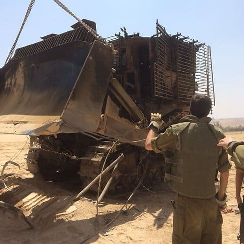 The bulldozer in which Adiel was burned