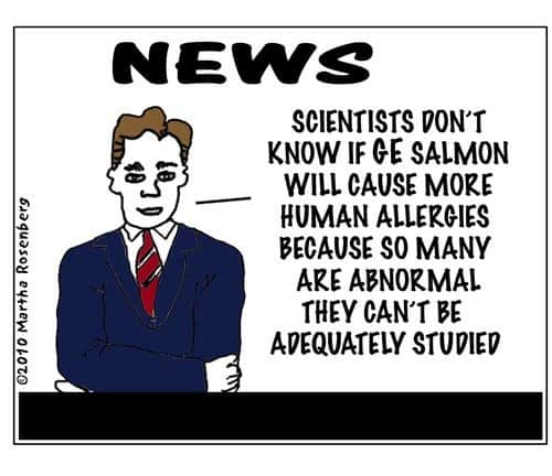 GE modified salmon cartoon