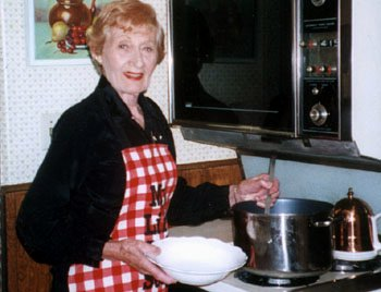 I remember this photo of mom in the kitchen when she was making soup