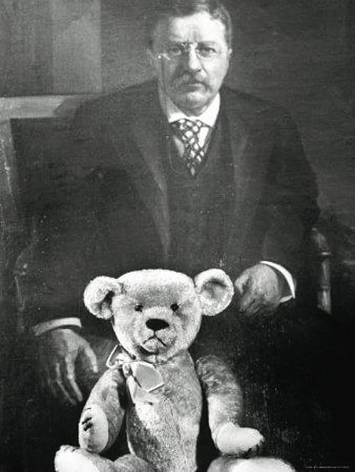 President Theodore(Teddy) Roosevelt with his famous Teddys bear in 1902.