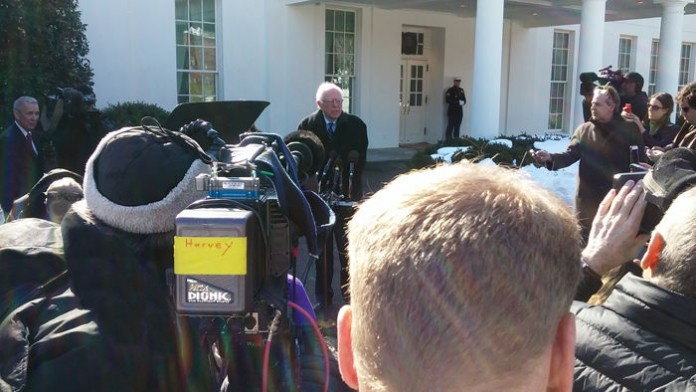 Bernie Sanders with press at White House