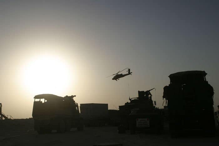 Apache Helicopters provide air support for 2nd Marine Division in major Operation Steel Curtain assault.