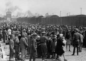 Hungarian Jews are selected by Nazis to be sent to the gas chamber at Auschwitz