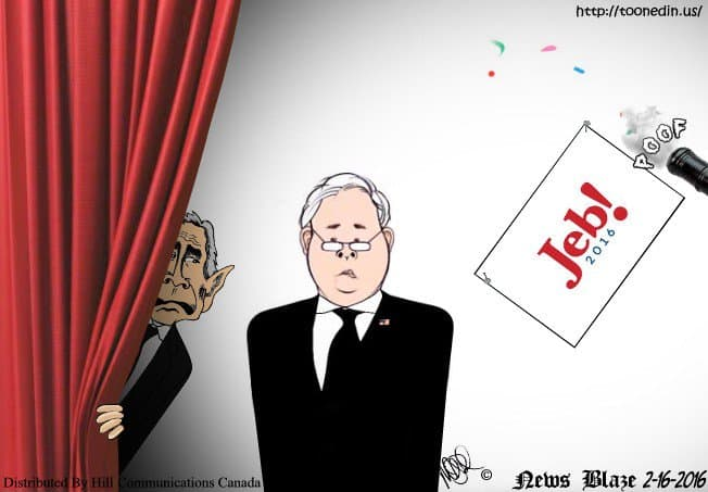 Jeb Bush and GW Bush cartoon.