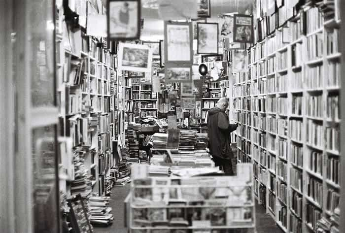 Man in a used books store.