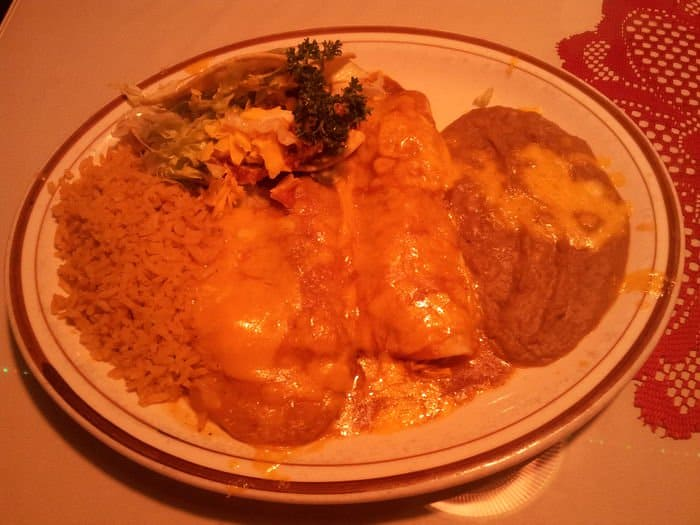 Mexican Combo, served with a taco, Chile Relleno, enchilada and rice and beans.