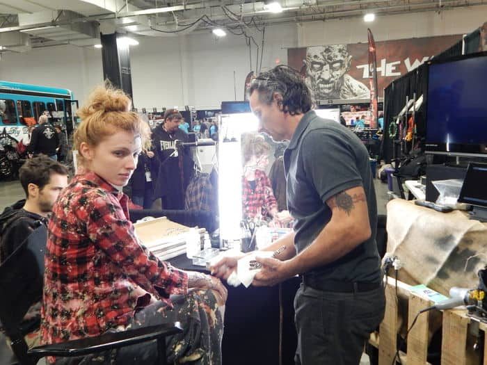 Mark Garbarino hard at work doing promotional Make ups for Maze Runner: The Scorch Trials at Walker Stalker Con NY/NJ 2015.