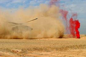 med-evac Black Hawk lands near violet smoke in Operation Steel Curtain