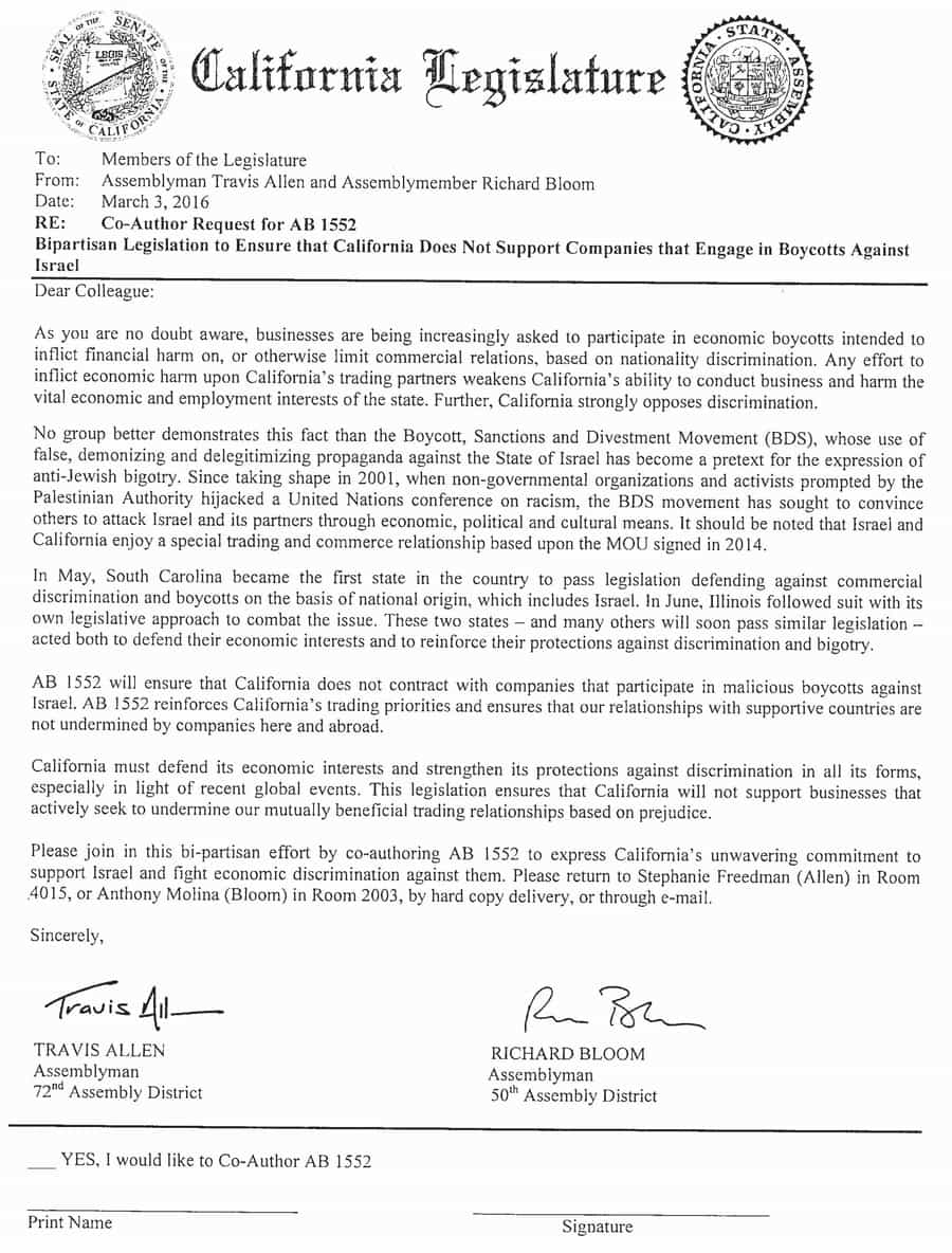 AB-1552 Assemblymen Travis Allen and Richard Bloom Co-Authors letter