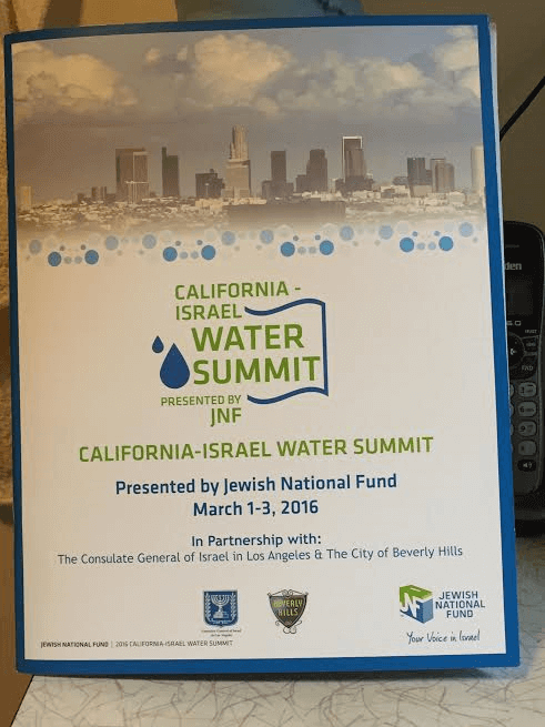California-Israel Water Summit announcement banner, March 2 2016
