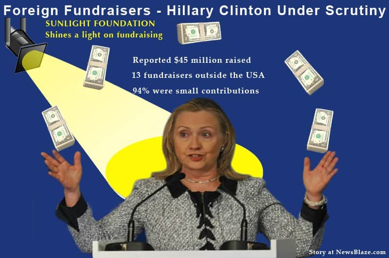 Graphic of Hillary clinton juggling overseas fundraising dollars.
