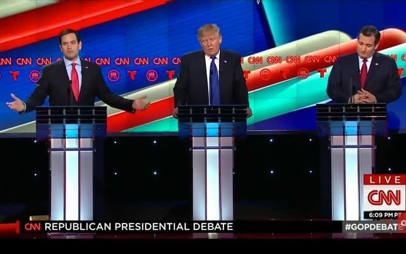 rubio, trump and cruz at CNN debate.