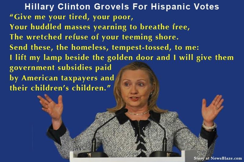 Graphic: Hillary Grovels For Hispanic Votes.