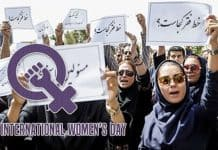 Iranian women protest against the regime.
