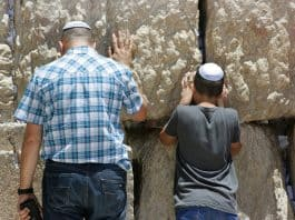 Israelis at the wailing wall.