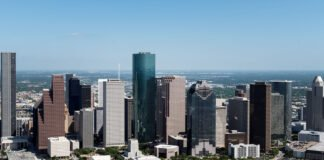 Houston texas city skyline.