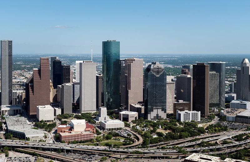 Houston texas city skyline.