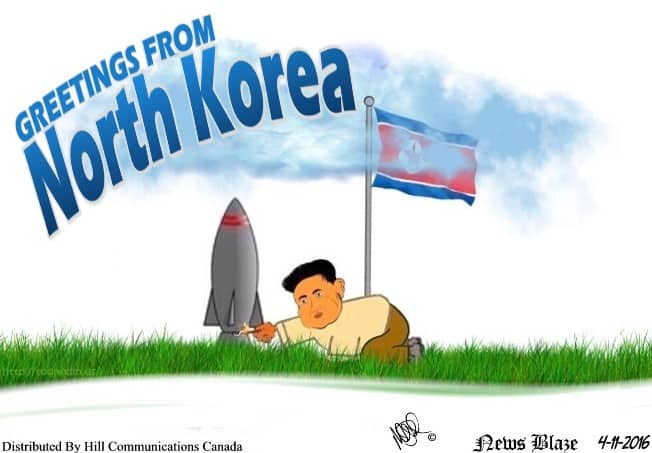 A gift from North Korea cartoon.