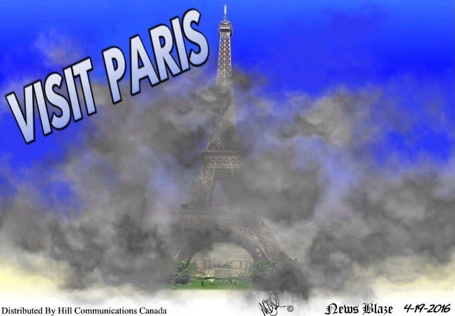Visit smoggy Paris cartoon.