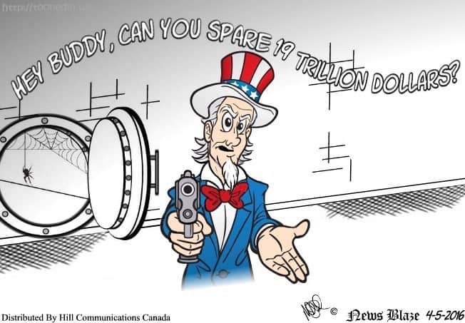Uncle Sam looking for a trillion dollar donation cartoon.