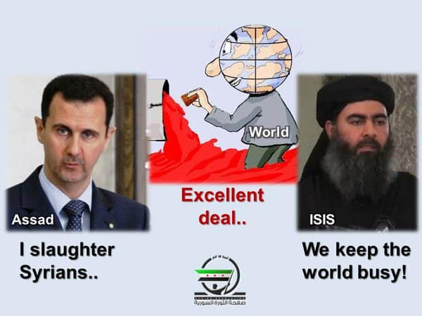 IS and Assad alliance.