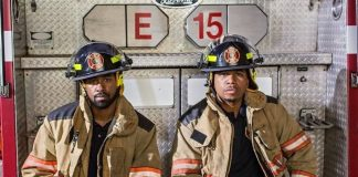 Jensen Atwood and Omar Gooding in fire uniform.