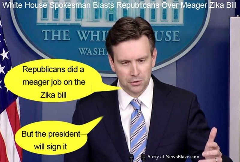 Josh Earnest blasts Republicans over meager accomplishment on Zika bill.